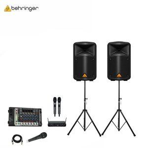 BEHRINGEREPS-500MP3+ DU-288 Wireless Microphone ชุดเครื่องเสียงเคลื่อนที่ 500 วัตต์ 8 นิ้ว เพาเวอร์มิกเซอร์ 8 ชาแนล พร้อมไมค์ลอยดิจิตอลคู่