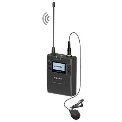 COMICACVM-WM300C UHF(794MHz~806MHz)80-channels Metal Wireless Microphone with One transmitters and One Receiver (Lithium Battery Version)COMICA CVM-WM300C ชุดไมโครโฟนไร้สายสำหรับกล้องวีดีโอ ย่านความถี่ UHF(794MHz~806MHz)80 ช่องสัญญาณ แบบเครื่องส่งสัญญาณ 1 ชุด มาพร้อมเครื่องรับสัญญาณคู่ 1 ชุด มาพร้อมแบตเตอรี่ Lithium