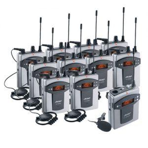 OKAYO EJ-7-SET10 ชุดทัวร์ไกด์ ชุดแปลภาษาไร้สาย ชุดเครื่องส่งทัวร์ไกด์ สำหรับผู้บรรยาย 1 ท่าน เครื่องรับสัญญาณเสียงชุดทัวร์ไกด์ สำหรับผู้รับฟังการบรรยาย (พร้อมหูฟัง) 10 ท่าน เลือกใช้ความ ถี่ได้ 96 ช่องความถี่