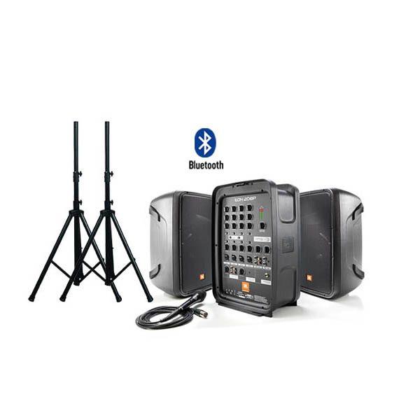 "JBL EON208P ชุดเครื่องเสียงเคลื่อนที่ คลาส D 300 วัตต์ เพาเวอร์มิกเซอร์ 8 ชาแนล Bluetooth® Packaged 8"" 2-Way PA with Powered 8-Channel Mixer and Bluetooth®"