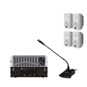 ITC Public Address Systems 4 ชุดเครื่องเสียงประชาสัมพันธ์ เพาเวอร์แอมป์ ลายน์ 70V/100V พร้อมมิกเซอร์ยึดแรกส์ ไมค์พูดปราศรัย และตู้ลำโพงติดผนังขนาด 6.5 นิ้ว