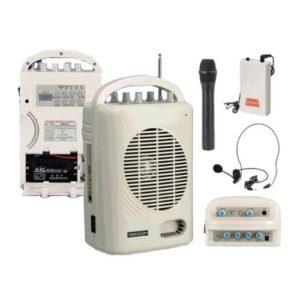 DECCON PWS-210U ชุดเครื่องเสียงกระเป๋าหิ้ว พร้อมช่อง USB/SD พร้อมไมค์ลอยมือถือ+หนีบเสื้อ+คาดศรีษะ *ใช้งานได้ทีล่ะ 1 ไมค์ ส่งฟรี ทั่วประเทศ!!