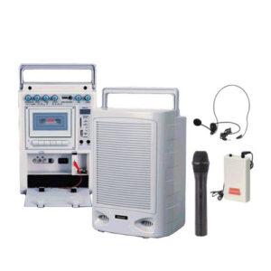 DECCON PWS-230U ชุดเครื่องเสียงกระเป๋าหิ้ว พร้อมช่อง USB/SD พร้อมไมค์ลอยมือถือ+หนีบเสื้อ+คาดศรีษะ *ใช้งานได้ทีล่ะ 1 ไมค์ ส่งฟรี ทั่วประเทศ!!