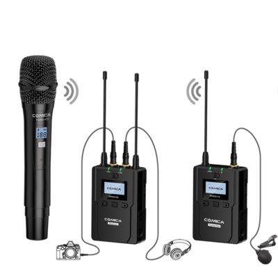 COMICA CVM-WM200 UHF(794MHz~806MHz)80-channels ชุดไมโครโฟนไร้สายสำหรับกล้องวีดีโอ เครื่องส่งพร้อมไมค์2 ชุด เครื่องรับสัญญาณคู่ 1 ชุด (AA Battery Version)