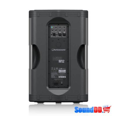 TURBOSOUND M12 ตู้ลำโพง 12 นิ้ว 2 ทาง 1,100 วัตต์ มีแอมป์ในตัว คลาส D ตอบสนองความถี่ 50 Hz–18 kHz ±3 dBและ 45 Hz–20 kHz -10 dBลำโพง 12 นิ้ว