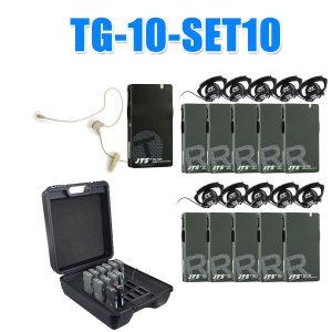 JTS TG-10-SET10ชุดทัวร์ไกด์ TG-10T ผู้บรรยาย พร้อมไมค์เกี่ยวคล้องหู 1 ท่าน TG-10R ผู้ฟังบรรยาย พร้อมหูฟัง 10 ท่าน กระเป๋าเครื่องชาร์ตแบตเตอร์รี่ 18 slot