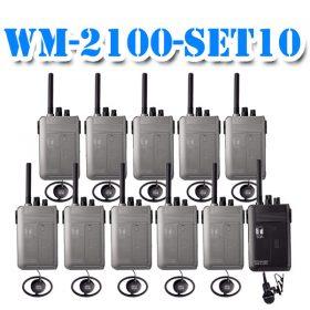 TOA WM-2100-SET10ชุดทัวร์ไกด์ ชุดเครื่องส่ง สำหรับผู้บรรยาย 1 ท่าน (พร้อมไมค์) เครื่องรับสัญญาณ สำหรับผู้ฟังการบรรยาย (พร้อมหูฟัง) 10 ท่าน Tour guide