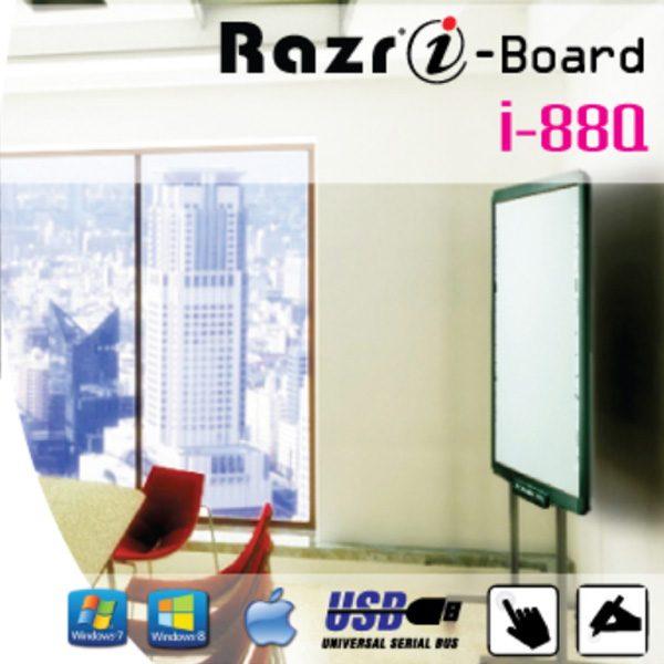 RAZR i-88Q กระดานอัจฉริยะ 88 นิ้ว 800x600/1024x768/1280x1024 Pixel เป็นจอรับภาพโปรเจคเตอร์ติดตั้งได้ทั้งแบบแขวนผนัง และวางบนขาตั้ง พร้อมล้อเลื่อน i-Board
