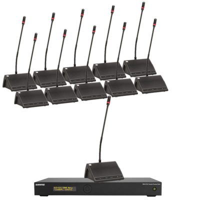 SHURE DDS 5900 SETชุดไมค์ประชุมดิจิตอล 11 ท่านSHURE DDS 5900 SET ชุดไมโครโฟนห้องประชุม ก้านยาว 40 ซม. มีบริการออกแบบติดตั้ง ของแท้ รับประกัน