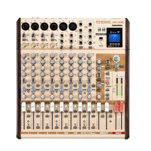 PHONIC AM12GE 4-MONO 4-STEREO INPUT 2-GROUP COMPACT MIXER WITH DFX PLUS BT, TF RECORDER AND USB เครื่องผสมสัญญาณเสียง อนาล็อก 12 ชาแนลมิกเซอร์อนาล็อก