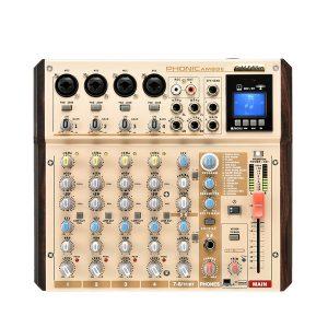 PHONIC AM8GE 4-MIC/LINE 2-STEREO INPUT COMPACT MIXER WITH DFX, PLUS BT, TF RECORDER AND USB INTERFACE เครื่องผสมสัญญาณเสียง อนาล็อก 8 ชาแนล มิกเซอร์อนาล็อก