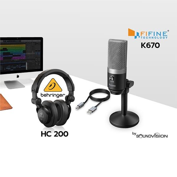 FIFINE K670 พร้อมหูฟัง BEHRINGER HC 200