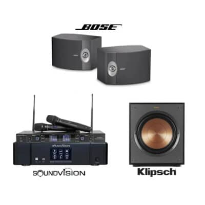 แอมป์ SOUNDVISION DKA-500 + ไมค์ลอย SU-890D-II/HT + ลำโพง BOSE 301 V + ซับ KLIPSCH R-100SW